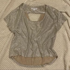 BCBG Gold Top with Peekaboo Back